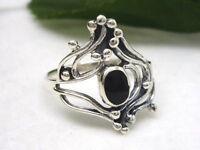 verschnörkelter Anello in argento 925 con pietra gioiello GOTICO Onice Vintage