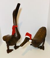 🦆Pair of Antique Primitive Carved Geese Duck FOLK ART Wooden Sculpture Large🦆