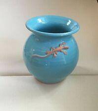St Thomas Kilnworks Virgin Isle Aqua Turquoise Pot / Vase - Qgc pink lizard 5in