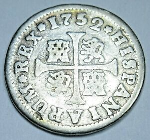 1752 Spanish Silver 1/2 Reales Antique 1700s Colonial Cross Pirate Treasure Coin