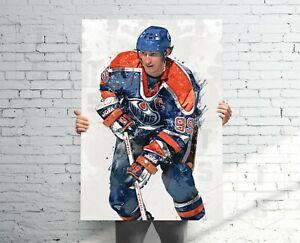 Wayne Gretzky Edmonton Oilers Poster, Canvas, Banner, Hockey Fan,Kids Wall Decor