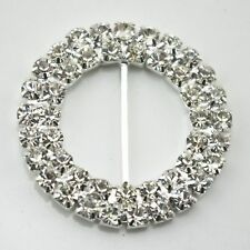 6pcs 36mm Round Clear Rhinestone Buckle Slides Wedding Invitations Napkin Ring