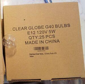 Brightown Clear Globe G40 Screw Base E12 Light Bulbs 5W, 1.5-Inch, Pack of 25