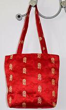 Borsa etnica a secchiello seta indiana rosso oro per cerimonia matrimonio regalo