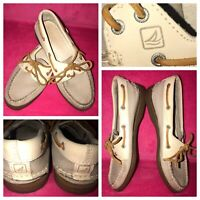 SPERRY TOP-SIDER Tan Two-Tone Soft ALL Leather Boat Deck Flats/Shoes Womens(6.5)