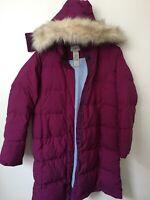 LL Bean Ultrawarm Puffer Coat 3/4 Length S Women's Down Jacket Zip Hood Ret $239