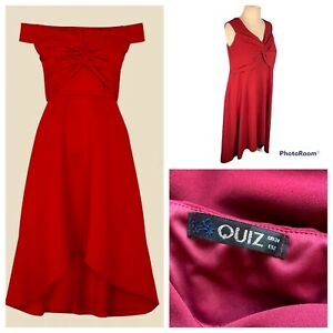Ladies Wine Red Dress Size 24 QUIZ Twisted Knot Front Dip Hem Stretchy Party 🌹