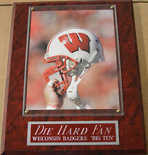 Die Hard Fan Wisconsin Badgers Framed 8X10 Photo-Man Cave Art-12X15 Wall Plaque