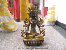 Tibet Buddhism Classical Bronze Gild White TaRa goddess Kwan-yin Buddha Statue