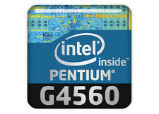 "Intel Pentium G4560 1""x1"" Chrome Domed Case Badge / Sticker Logo"