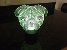 Pug Dog 3D Night Light Changing Colours Novelty Lamp  Gift New