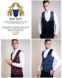 Mens Velvet Waistcoat Slim fit Jacquard Paisley Party Formal Fashion Vest
