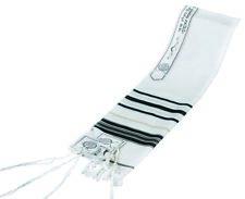 TRADITIONAL WOOL TALLIT WITH BLACK & GOLD STRIPES Jewish Prayer Shawl SIZE 24