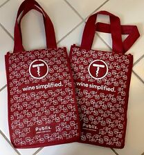 Wine Bottle Eco-Friendly Vegan Tote - Two Bags Hold 4 Bottles Each Red Publix