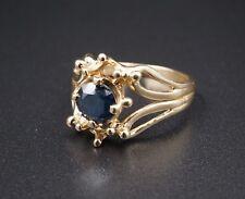 Vintage 14k Yellow Gold 0.8ct Blue Diamond Statement Ring Size 7 RG1428