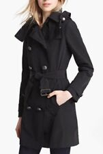 Auth Burberry Brit 'Balmoral' Trench Coat Hood Warmer Black Sz 10 $1095 m