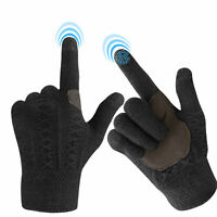 Glove Solid Color Unisex Cable Knit Winter Warm Ski Anti-Slip Touchscreen Gloves