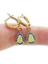 Turkish Jewelry 925 Sterling Silver Yellow Opal Hurrem Sultan Womens Earrings
