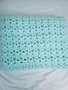 Handmade V Triple Crotchet Stitches Afghan Design Baby Blue Throws Blanket J05