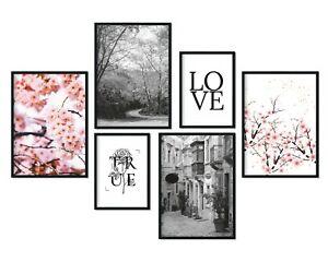 bilderreich Premium Poster Set Deko Bilder Wohnzimmer Modern 6er Wand Bild