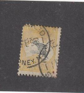 AUSTRALIA (MK4896)  # 54  F-USED  5sh  1918 KANGAROO & MAP /YELLOW-GRAY  CV $125