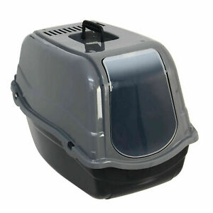 Grey Hooded Pet Toilet Cat Litter Portable Tray Easy Clean W/ Flap & Vents 55cm