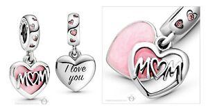 2021 Authentic Pandora Silver 925 Charm Mom Script Pink Heart Dangle 798887C01