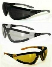 3 ANTI FOG Padded Motorcycle Riding Glasses Sunglasses-Smoked,Clear,Yellow Lens