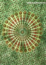Indian Green Dye Peacock Mandala Poster Tapestry Hippie Wall Hanging Door Decor