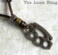 Urban Vintage Genuine Leather Diesel Necklace with Metal Brass Knuckles Pendant