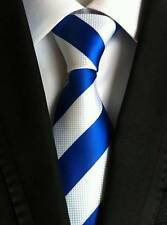 New Classic Striped Blue White JACQUARD WOVEN 100% Silk Men's Tie Necktie