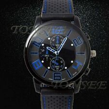 Fashion Men's Sports Date Analog Quartz Leather Stainless Steel Wrist Watches