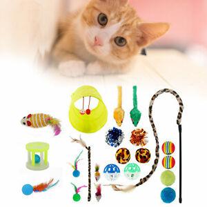 Katzenspielzeug Set Katzenspielzeug Cat Toy mit Bällen Angel Mäusen 21tlg DE
