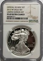 2013 W NGC PF69 ULTRA CAMEO PROOF SILVER AMERICAN EAGLE LIMITED EDITION SET