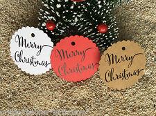 10 Kraft White Gift Tags Merry Christmas Favour Presents Secret Santa Tags
