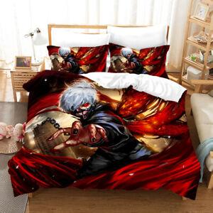 Tokyo Ghoul 3PC Bedding Set Quilt Duvet Cover Pillowcase Comforter Cover US Size