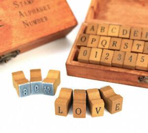 Sonderposten - Buchstabenstempel - Alphabet - Großbuchstaben - Holzbox