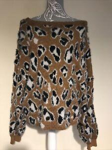 Ladies Brown Black White Leopard Print Fluffy Jumper Size 16 River Island