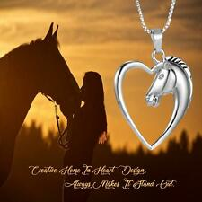 Fancy Heart Shape Horse Pendant 925 Sterling Silver Plated Hollow Heart Necklace