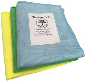 Microfibre Cloths - 3 pack - blue yellow green