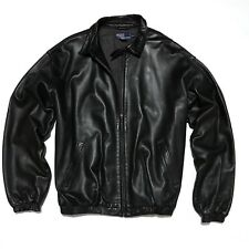 Polo Ralph Lauren Men's XL Black Soft Lambskin 100% Leather Jacket Cotton Lined