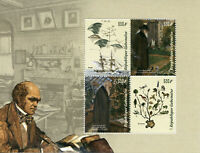 Gabon Stamps 2019 MNH Charles Darwin Finches Birds Science Famous People 4v M/S