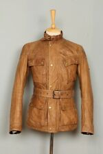 Stunning BELSTAFF 1966 Panther Cognac Belted Motorcycle Leather Jacket XSmall 34