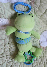 "Koala Baby Green Frog Rattle Ribbet Jiggle Baby Boy or Girl Stroller Toy 10"" Euc"