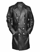German General Major Men's Military Style Real Leather Jacket Trench Long Coat