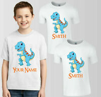 Personalised DINOSAUR T-Shirt, Your Name Birthday Boys & Girls Gift Kids Tee Top