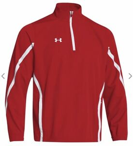 NEW Under Armour Men's Eseential 1/4-Zip Pullover Jacket Red / White XL