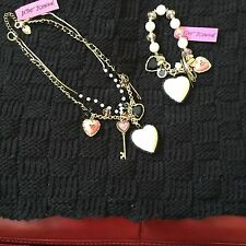 Large Betsey Johnson Heart Bracelet Necklace Set