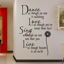 Best Vinyl Dance Love Sing Live Wall Decal Stickers Quotes Art DIY Mural #V04