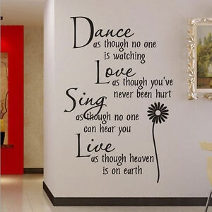 Dance Studio Wall Stickers Dancer Inspiration Quote Decal Mural Art Decor #H6Y